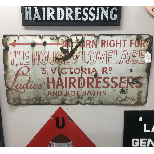 Vintage House of Lovelace Enamel Sign VIN409A
