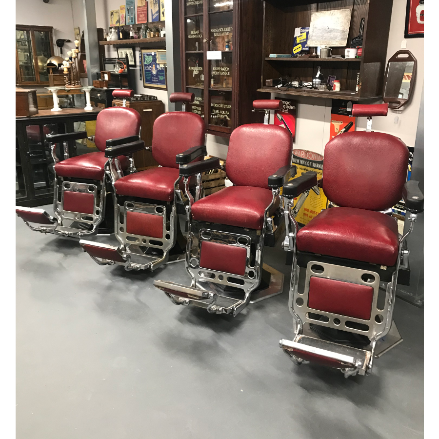 Vintage 1930's Set of 4 Barber Chairs VIN423A