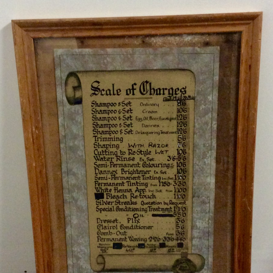 Vintage 'Scale of Charges' Price List VIN331A