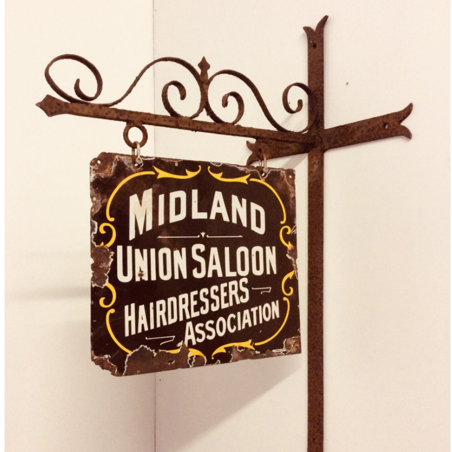 Antique Rare Union Saloon Enamel Sign and Wall Bracket VIN432A