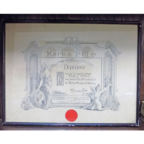 Antique 1910 Diploma For Beryl Collins VIN135E
