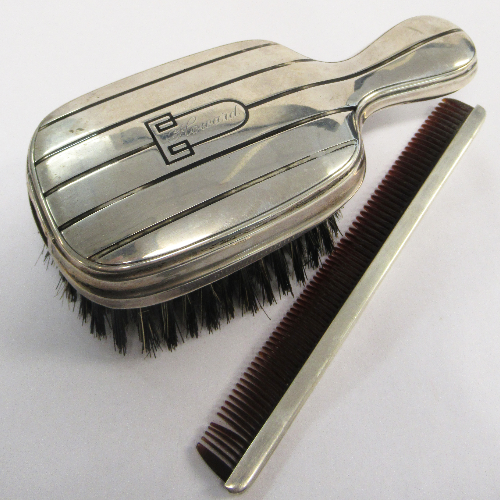 Antique 1928 Gentlemen's Solid Silver Hair Brush with Comb VIN200A