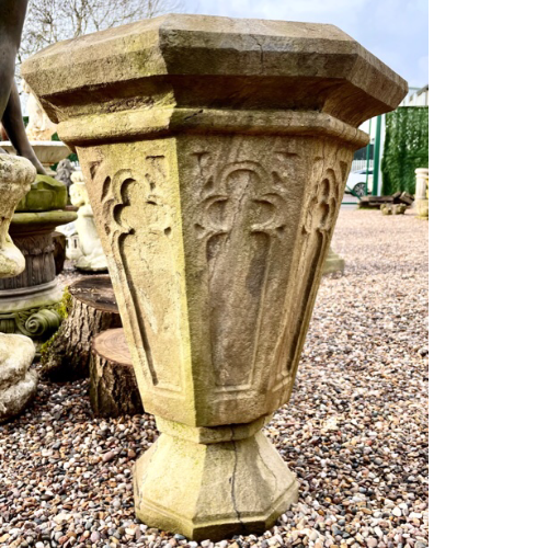 19th Century hand carved stone Gothic octagonal shaped urn VIN514D.