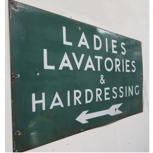 Vintage Rare Ladies Lavatories & Hairdressing Enamel Sign VIN379B